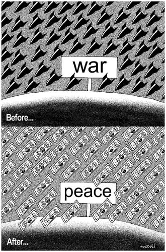 Cartoon: war and peace (medium) by Medi Belortaja tagged money,bomb,war,dollar,peace,bombing