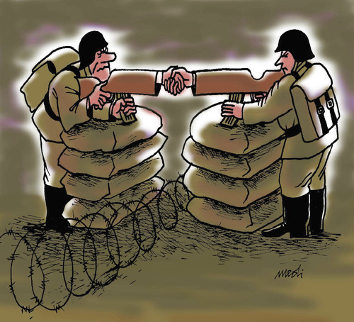 Cartoon: arms shake hands (medium) by Medi Belortaja tagged conflict,gun,weapons,peace,war,handshake,soldiers