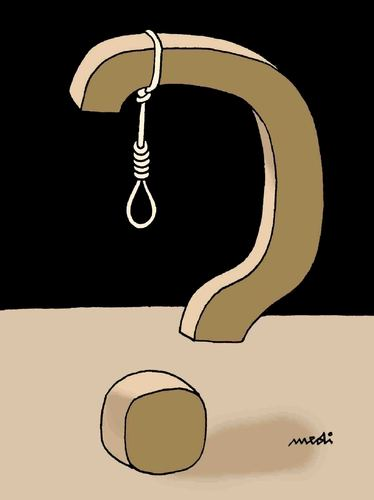 Cartoon: why (medium) by Medi Belortaja tagged justice,death,hanging,penalty,question,mark