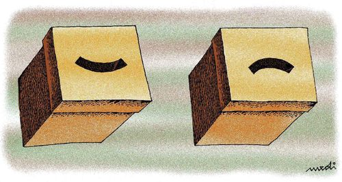 Cartoon: winner and lost election boxes (medium) by Medi Belortaja tagged boxes,ballot,elections,lost,winner
