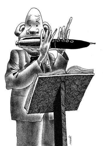Cartoon: writer s flute (medium) by Medi Belortaja tagged writer,flute