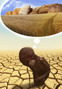 Cartoon: african dream (small) by Medi Belortaja tagged african,dream,africa,hunger,cracked,area,plant,wheat,bread,poverty
