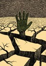 Cartoon: cracked area (small) by Medi Belortaja tagged cracked,area,environment,ecology,global,warming,hand,tree,forest,help