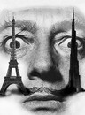 Cartoon: Dali (small) by Medi Belortaja tagged salvador,dali,painter,towers,eiffel,burj,dubai