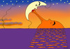 Cartoon: Good night ! (small) by Medi Belortaja tagged night moon sun love sunset man woman lovers