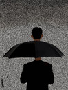 Cartoon: man with umbrella (small) by Medi Belortaja tagged man,umbrella,head,rain,personality