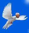 Cartoon: Mandela flying (small) by Medi Belortaja tagged nelson,mandela,flying,peace,freedom,south,africa,pigeon