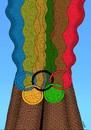 Cartoon: olympic chimney (small) by Medi Belortaja tagged olympic,chimney,symbol,smoke,nature,disaster,ecology