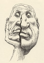 Cartoon: thinker (small) by Medi Belortaja tagged think,thought,mind,idea,ideas,thinker,thing,man,face,cracked,cracking,head