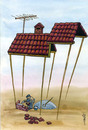 Cartoon: paradox in construction (small) by Medi Belortaja tagged construction,building,house,roof,workers