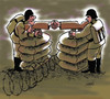 Cartoon: arms shake hands (small) by Medi Belortaja tagged handshake,war,peace,weapons,gun,conflict,soldiers