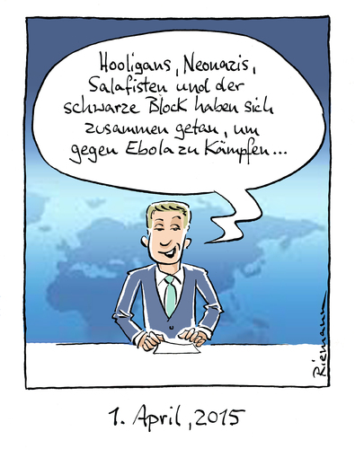 Cartoon: Anderes Universum (medium) by Riemann tagged ebola,is,hooligans,neonazis,salafisten,schwarzer,block,menschheit,zusammen,gutes,tun,aprilscherz,gesellschaft,schläger,krisen,cartoon,george,riemann,ebola,is,hooligans,neonazis,salafisten,schwarzer,block,menschheit,zusammen,gutes,tun,aprilscherz,gesellschaft,schläger,krisen,cartoon,george,riemann
