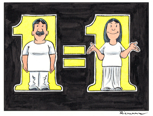 Cartoon: Equal (medium) by Riemann tagged internationaler,tag,der,frau,mann,gender,geschlechter,international,womens,day,dia,de,la,dona,mujer,hombre,man,woman,cartoon,george,riemann,internationaler,tag,der,frau,mann,gender,geschlechter,international,womens,day,dia,de,la,dona,mujer,hombre,man,woman,cartoon,george,riemann