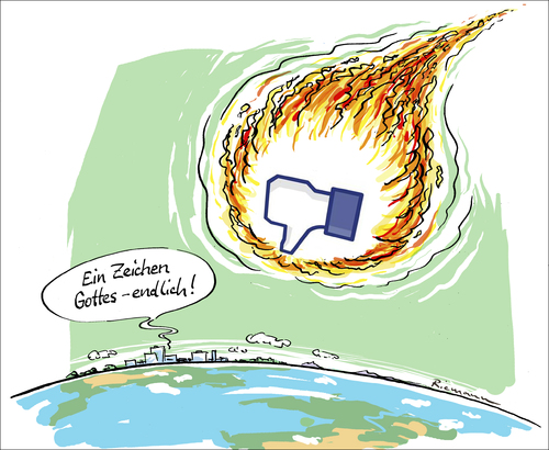 Cartoon: Gefällt mir nicht ! (medium) by Riemann tagged facebook,erde,earth,asteroid,end,of,world,ende,der,welt,gott,god,zeichen,signs,religion,armageddon,facebook,erde,earth,asteroid,end,of,world,ende,der,welt,gott,god,zeichen,signs,religion,armageddon