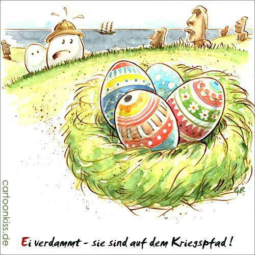 Cartoon: Osterinseln (medium) by Riemann tagged ostern,eier,inseln,entdecker,kriegsbemalung,