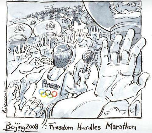 Cartoon: Press Hurdle Marathon (medium) by Riemann tagged china,olympia,censorship,oppression,freedom,politics,zensur,sport,police