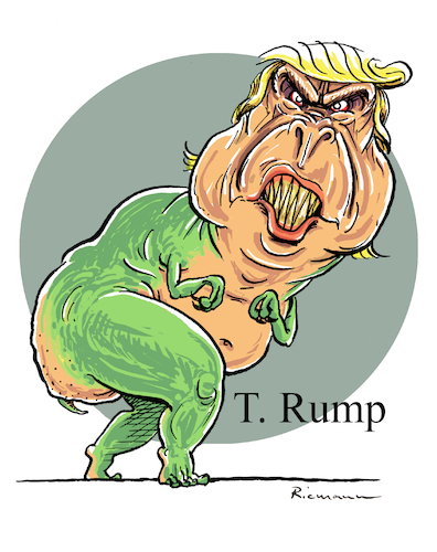 Cartoon: T Rump (medium) by Riemann tagged donald,trump,tyrannus,saurus,rex,president,usa,dinosaur,monster,dictator,rightwing,politics,america,asozial,cartoon,george,riemann,donald,trump,tyrannus,saurus,rex,president,usa,dinosaur,monster,dictator,rightwing,politics,america,asozial,cartoon,george,riemann