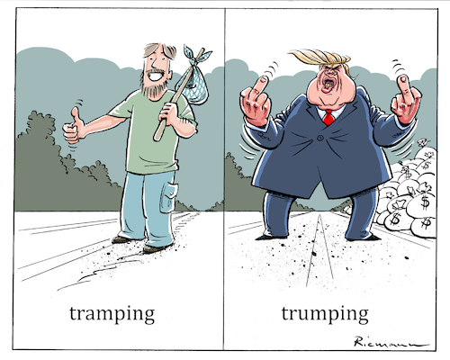 Cartoon: Trumping (medium) by Riemann tagged donald,trump,president,united,states,republican,social,attitude,sozialverhalten,arm,reich,rich,poor,reworld,peace,atomic,bomb,northkorea,weltfrieden,atombombe,nordkorea,aussenpolitik,foreign,policy,agression,stupidity,trampeltier,cartoon,george,riemann,donald,trump,president,united,states,republican,world,peace,atomic,bomb,northkorea,weltfrieden,atombombe,nordkorea,aussenpolitik,foreign,policy,agression,stupidity,trampeltier,cartoon,george,riemann