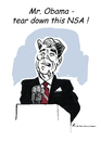 Cartoon: Ronald Reagan (small) by Riemann tagged nsa,obama,usa,edward,snowden,eu,reagan,berlin,wall,gorbatchow,democracy,freedom,prism,spy,spion,abhören,saten,somputer,skandal