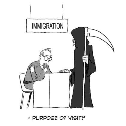 Cartoon: Immigration Desk (medium) by jobi_ tagged immigration,death