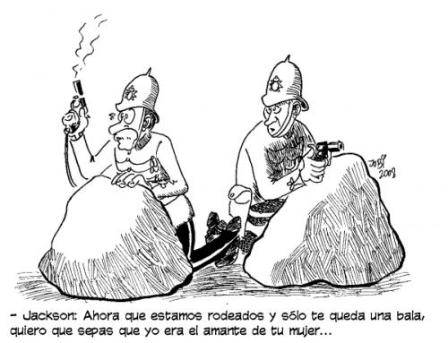 Cartoon: La hora de la verdad (medium) by jobi_ tagged war,colonialism,,la