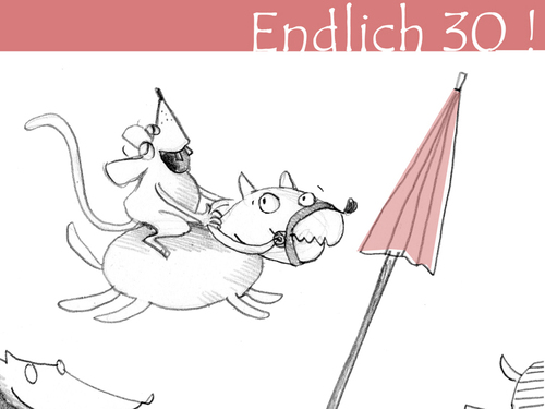 Cartoon: Endlich 30! (medium) by Silvia Wagner tagged geburtstag,dreißig,maus,mouse,birthday,thirty,dog,hund,schirm,umbrella