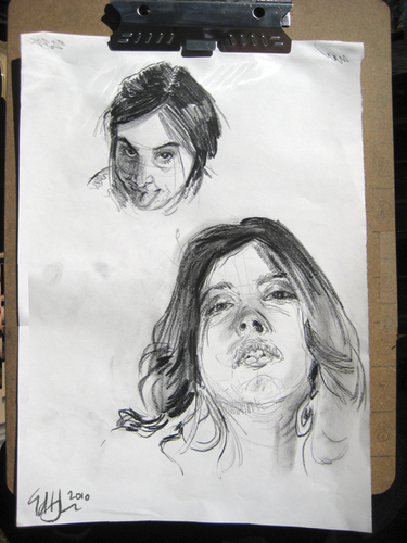 Cartoon: Face and Head Studies (medium) by halltoons tagged portrait,head,face,girl,woman,drawing,sketch,charcoal