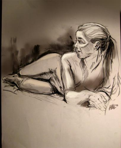 Cartoon: Reclining Female Nude (medium) by halltoons tagged female,girl,nude