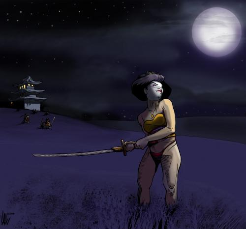 Cartoon samurai geisha 2 medium by halltoons tagged geisha girl