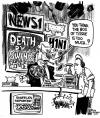 Cartoon: The Real Pandemic (small) by halltoons tagged swine,flu,media,h1n1