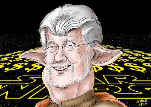 Cartoon: George Lucas Karikatur (medium) by A Tale tagged george,lucas,regisseur,autor,usa,star,wars,geburtstag,hollywood,film,saga,science,fiction,kult,weltraumepos,märchen,yoda,dollarzeichen,karikatur,caricature,gesicht,porträt,bild,cartoon,pressezeichnung,illustration,tale,agostino,natale,george,lucas,regisseur,autor,usa,star,wars,geburtstag,hollywood,film,saga,science,fiction,kult,weltraumepos,märchen,yoda,dollarzeichen,karikatur,caricature,gesicht,porträt,bild,cartoon,pressezeichnung,illustration,tale,agostino,natale