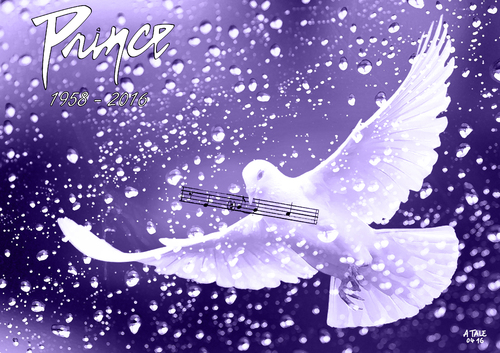 Cartoon: RIP Prince (medium) by A Tale tagged prince,musiker,pop,rock,funk,jazz,tod,usa,star,sänger,komponist,achtziger,purple,rain,when,doves,cry,hommage,taube,musiknoten,regentropfen,regen,illustration,zeichnung,tale,prince,musiker,pop,rock,funk,jazz,tod,usa,star,sänger,komponist,achtziger,purple,rain,when,doves,cry,hommage,taube,musiknoten,regentropfen,regen,illustration,zeichnung,tale