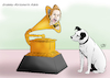 Cartoon: Adele Grammygewinnerin (small) by A Tale tagged adele,musikerin,sängerin,grammy,verleihung,award,2017,mehrfache,gewinnerin,musikbranche,auszeichnung,trophäe,abräumen,bestes,album,25,lied,hello,pop,solo,performance,vocal,showbusiness,national,academy,recording,arts,künstler,komponisten,grammophon,hund,his,masters,voice,logo,anspielung,karikatur,illustration,cartoon,tale,agostino,natale