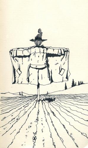 Cartoon: Scarecrow (medium) by freekhand tagged scarecrow,sown,field,,