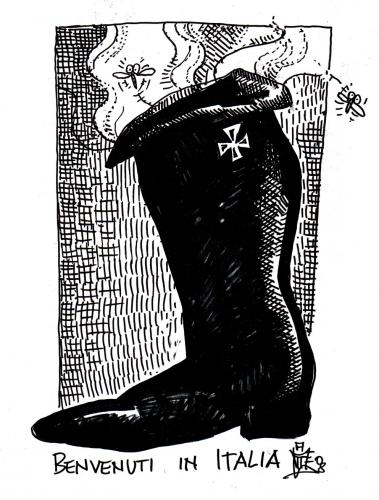 Cartoon: fascist boot (medium) by matteo bertelli tagged italy,boot,fascist,faschismus,italien,regierung,willkommen,scheußlich,überl,widerlich,fliegen,stiefel,gestank,politik,politiker,macht