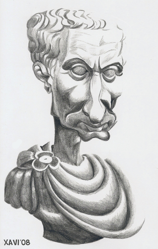 Cartoon: Julius Caesar (medium) by Xavi Caricatura tagged republica,cesar,history,empire,roma,caesar,julius,gaius,julius,caesar,rom,politiker,skulptur,staatsmann,feldherr,autor,diktator,attentat,portrait,kopf,gesicht,mann,karikatur
