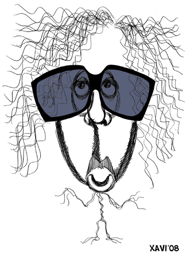 Cartoon: Tim Burton (medium) by Xavi Caricatura tagged film,cinema,oscar,star,director,hollywood,burton,tim,tim,burton,regisseur,film,brille,karikatur,mann,portrait,gesicht,batman,usa,schräg,morbid,bizarr,düster