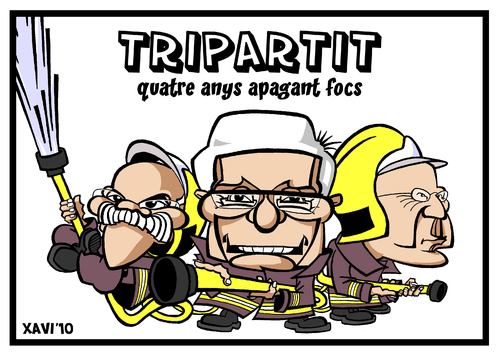 Cartoon: Tripartit apagafocs (medium) by Xavi Caricatura tagged generalitat,jose,montilla,joan,saura,josep,lluis,carod,rovira,govern,catalunya,catalonia,spain,caricatura,caricature
