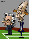 Cartoon: FC Barcelona- Real Madrid (small) by Xavi Caricatura tagged fcb fc barcelona real madrid jose mourinho pep guardiola caricatura caricature cartoon spain football futbol liga