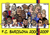Cartoon: FC Barcelona 2008-2009 (small) by Xavi Caricatura tagged barcelona,2009,football,caricature,messi,etoo,henry,iniesta,fc,soccer