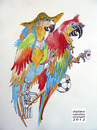 Cartoon: Italian Birds (small) by viconart tagged italy,italian,parrot,lifestyle,tradition,animal,bird,football,soccer,coffee,romans,cartoon,viconart