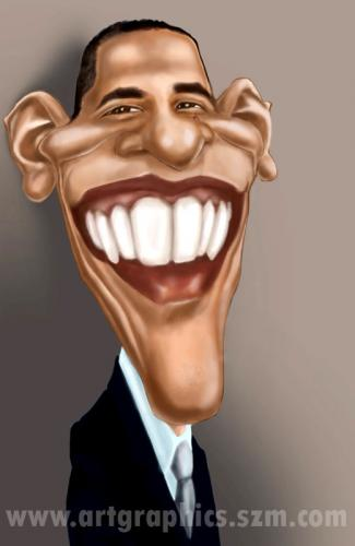 Cartoon: Barack Obama (medium) by takacs tagged obama,barack,caricature,karikatur,karikatura,portrait,drawing