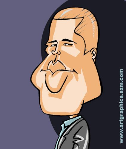 Cartoon: Brad Pitt (medium) by takacs tagged caricature,portrait,