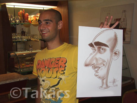 Cartoon: Live caricature (medium) by takacs tagged caricature