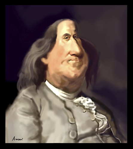 Cartoon: Benjamin Franklin (medium) by Amauri Alves tagged photoshop