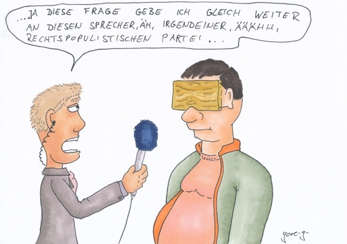 Cartoon: Brett vorm Kopp (medium) by gore-g tagged rechtspopulismus,reporter,rechte,nationale,parteien,brett,vorm,kopf