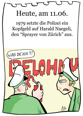 Cartoon: 11. Juni (medium) by chronicartoons tagged naegeli,graffiti,zürich,sprayer,polizei