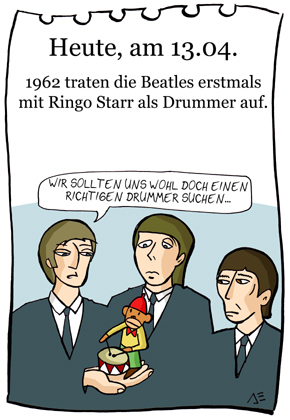 Cartoon: 13. April (medium) by chronicartoons tagged john,paul,george,ringo,beat,beatles,musik,schlagzeug,drums,cartoon