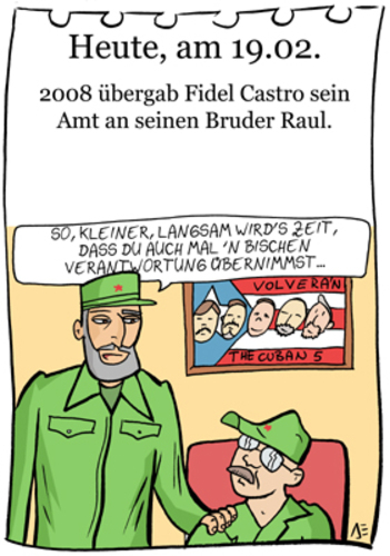 Cartoon: 19. Februar (medium) by chronicartoons tagged fidel,castro,raul,kuba,che