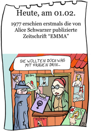 Cartoon: 1. Februar (medium) by chronicartoons tagged emma,alice,schwarzer,kiosk,playboy,penthouse,frauenzeitschrift,cartoon